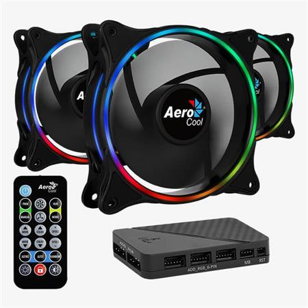 COOLER FAN AEROCOOL ECLIPSE 12 PRO - KIT X 3 CON COTROLADORA Y CONTROL
